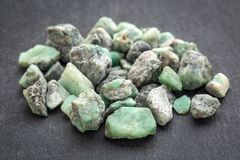 Raw emerald gemstones Royalty Free Stock Images
