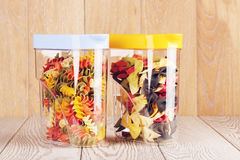 Raw Fancy Pasta In Jars Stock Images