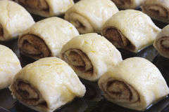 Raw fashioned bun dough with cinnamon Royalty Free Stock Image