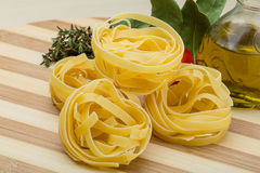 Raw fettuccine Stock Image