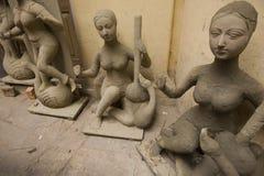 Raw figure of Hindu Goddess Saraswati Stock Images