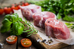 Raw filet mignon meat cuts with spice and herbs Stock Photography