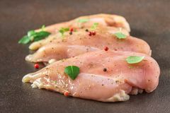 Raw fillet of chicken on rusty background. Meat ingredients for cooking. Stock Images
