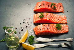 Raw Fillet of salmon stock photo