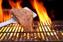 Raw Fillet Steak on the Spatula Royalty Free Stock Photography