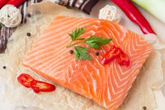 Raw fillets of red fish, salmon, cooking healthy diet dishes. For dinner Stock Image