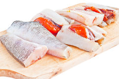 Raw fish. Closeup view of raw fish on isolated background Royalty Free Stock Images