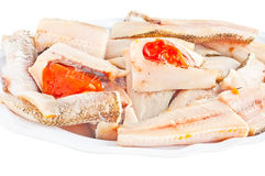 Raw fish. Closeup view of raw fish on isolated background Stock Photo