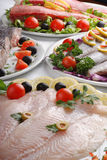 Raw fish arranged Royalty Free Stock Image