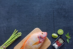 Raw fish, asparagus, herbs and spices Stock Image