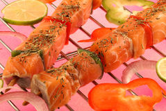 Raw fish brochettes Royalty Free Stock Photos