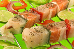 Raw fish brochettes Stock Images