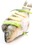 Raw fish. Close-up with White background Stock Photo