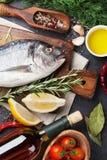 Raw fish cooking ingredients Stock Image