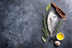 Raw fish cooking ingredients Royalty Free Stock Photo