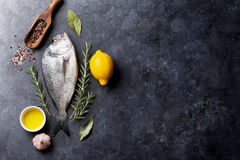 Raw fish cooking ingredients Stock Photography