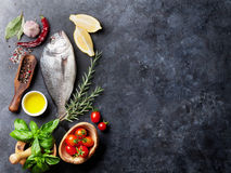 Raw fish cooking ingredients Stock Image