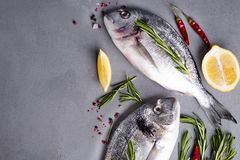 Raw fish cooking and ingredients. Stock Photo