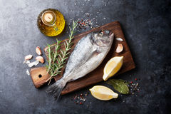 Raw fish cooking ingredients Stock Images