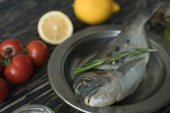 Raw fish cooking and ingredients. Dorado, lemon, herbs and spices. Stock Photo