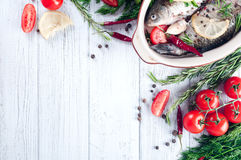 Raw fish cooking and ingredients. Royalty Free Stock Photography