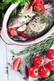 Raw fish cooking and ingredients. Stock Photos