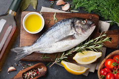 Raw fish cooking ingredients Stock Photo