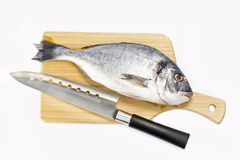 Raw fish on a cutting board. And knife Stock Photo