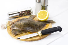 Raw fish on a cutting board. And knife Stock Photography