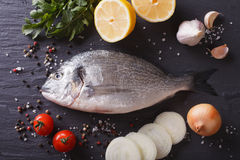 Raw fish dorado with the ingredients on the table. horizontal to Royalty Free Stock Photos