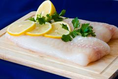 Raw fish fillet. With punch and lemons Royalty Free Stock Photography