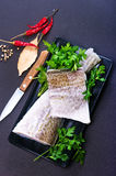 Raw fish fillet. And aroma spice on a table Royalty Free Stock Images