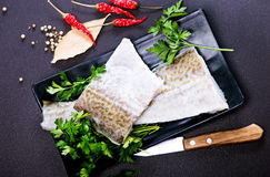 Raw fish fillet. And aroma spice on a table Royalty Free Stock Photos