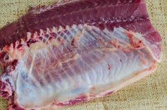 Raw fish fillet. Fresh raw carp steak fillet Stock Images