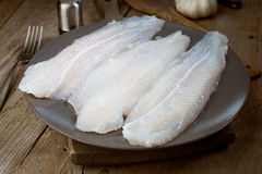 Raw fish fillets freshly caught in dish. On wood Stock Images