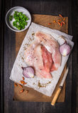Raw fish  fillets with spices , preparation Stock Photos