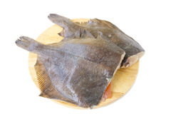 Raw fish flounder. On a white background Stock Image