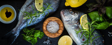 Raw fish with herbs and spices Stock Photos
