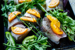Raw fish with herbs and vegetables on the pan. Raw fish on the pan royalty free stock images