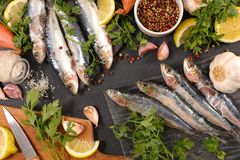 Raw fish and ingredients. Top view Royalty Free Stock Image
