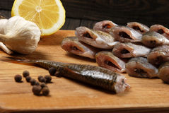 Raw fish with lemon Stock Image