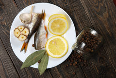 Raw fish with lemon Royalty Free Stock Photos
