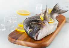 Raw fish with lemon on  a wooden cutting board.  Royalty Free Stock Images