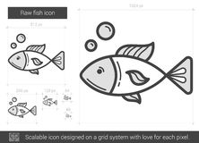 Raw fish line icon. Raw fish vector line icon isolated on white background. Raw fish line icon for infographic, website or app. Scalable icon designed on a grid Royalty Free Stock Photography