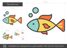 Raw fish line icon. Royalty Free Stock Photos