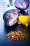 Raw fish, onion, lemon and spices on a black table. Toned Stock Photo