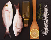 RAw fish with other ingredients. RAw fish Pagellus with other ingredients on black stone Stock Image