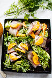 Raw fish on  the pan. Raw fish with herbs and vegetables on the pan Royalty Free Stock Photo