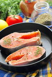 Raw fish in pan prepared for cooking. Raw fish in pan prepared for frying Royalty Free Stock Image