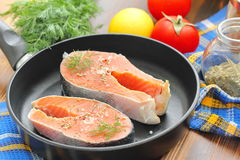 Raw fish in pan prepared for cooking. Raw fish in pan prepared for frying Royalty Free Stock Photography